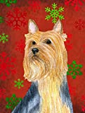 Caroline's Treasures LH9316GF Silky Terrier Red Green Snowflake Holiday Christmas Flag, Small, Multicolor