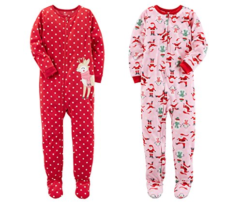 Carter's Baby Toddler Girl's 2 Pack Fleece Footed Pajama Sleep and Play Set (12 Months, Zipper Closure - Red Reindeer and Pink Santa)