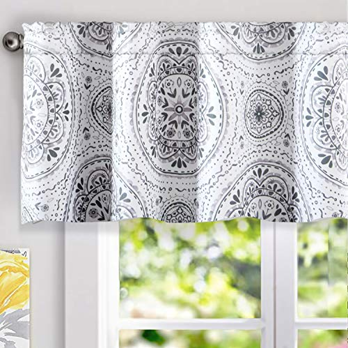 DriftAway Lucia Medallion Pattern Lined Thermal Insulated Energy Saving Window Curtain Valance for Living Room 2 Layers Rod Pocket 52 by 18 Inch Plus 2 Inches Header Gray (Medallion Rod Pocket Curtain)