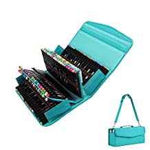 Bonaweite 100 Slots Pencil Case Pastoral Bandage Canvas Colored Pencils Holder Box Makeup Bag