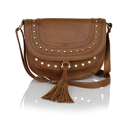 Cognac Studded Vegan Leather Saddle Bag Boho Crossbody with Suede Tassels (Over Fold Flap Studded)
