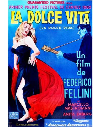 Ekberg Sexy Vibrant artwork Federico Fellini classic 8x10 HD Aluminum Wall Art ()
