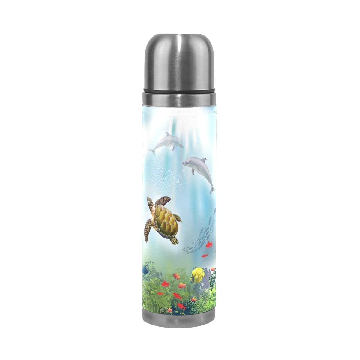 Alaza 17 oz Underwater World Sea Turtle Dolphin二重壁真空カップ断熱ステンレススチールPUレザー旅行マグ、クリスマス誕生日プレゼントfor Mom Dad Boys Girls Kids恋人友達   B074L3SCTV
