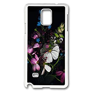 VUTTOO Rugged Samsung Galaxy Note 4 Case, Colorful Flowers PC Plastic Hard Case Cover for Samsung Galaxy Note 4 N9100 PC White