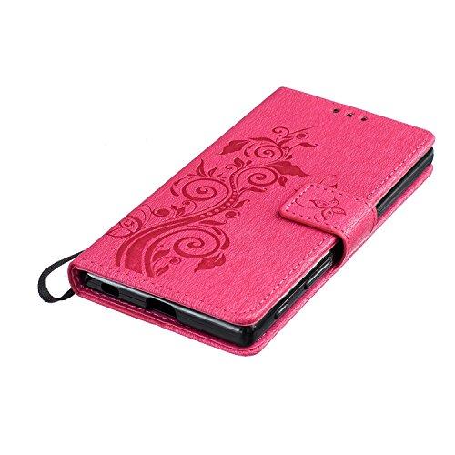 Sony Xperia Z5 Funda de Cuero PU (Con Gratis Pantalla Protector) KaseHom Elegante MariposaFlorÁrbolRetroPatrónEstilo de LibroBilleteraDiseñoconRanuras para Tarjetas/fotografías eCorrea de Mu Rojo Oscuro