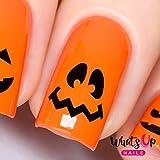 Whats Up Nails - Pumpkin Faces Vinyl Stencils for Halloween Nail Art Design (1 Sheet, 20 Stencils)