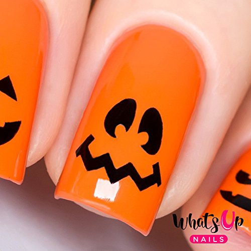 Whats Up Nails - Pumpkin Faces Vinyl Stencils for Halloween Nail Art Design (1 Sheet, 20 Stencils)