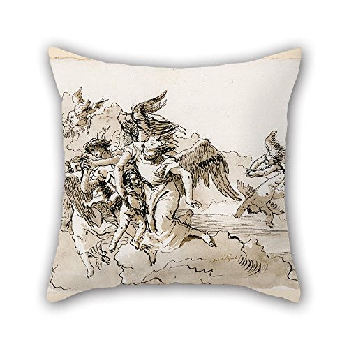 Artistdecor 18 X 18 Inches / 45 By 45 Cm Oil Painting Giovanni Domenico Tiepolo - Flying Angels And Putti Cushion Covers ,double Sides Ornament And Gift To Couch,relatives,club,living Room,kitchen,w