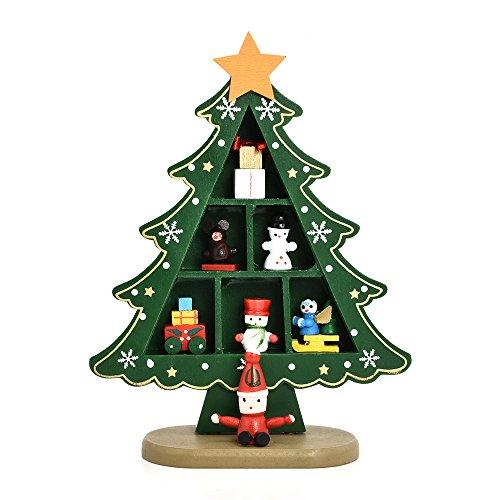 Moonvvin Navidad en miniatura árbol de madera decoración regalos de Navidad Luz mesa adornos escritorio Navidad árbol...