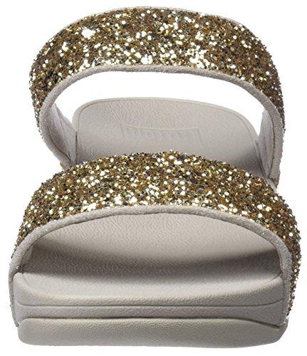 FITFLOP Glitterball Slide, Sandalias con Plataforma Para Mujer Dorado (Pale Gold)