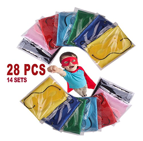 Super Heroes Capes (Child Super hero Costume, Cape and Mask Set for Kids, Birthday Party DIY Children (28 Pieces))