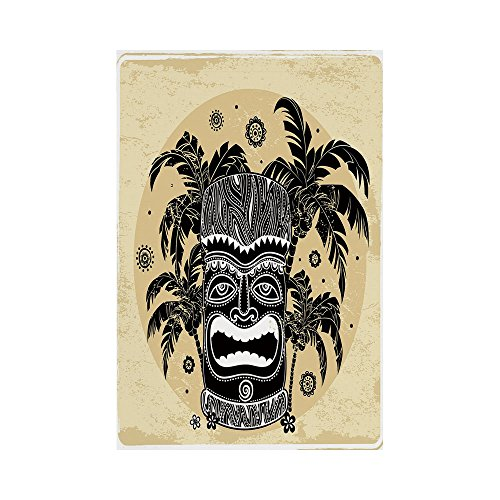 g Outdoor Flag House Flag Banner,Tiki Bar Decor,Tiki Mask Figure Palm Trees Ornate Flowers Sunny Summer Party Print Decorative,Brown White Yellow,for Wedding Anniversary Home Outdo (Palm Tiki Bar Decor)