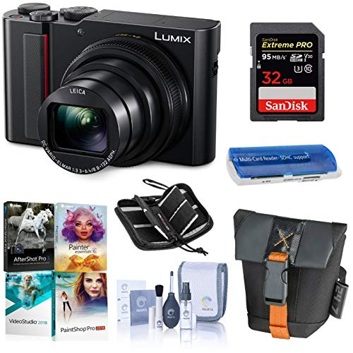Panasonic Lumix DMC-ZS200 Digital Point & Shoot Camera, Black – Bundle with 32GB SDHC U3 Card, Camera Case, Cleaning Kit, Memory Wallet, Card Reader, Pc Software Package