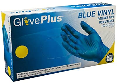 AMMEX - GlovePlus - IVBPF - Vinyl Gloves - 100/box, Disposable, Powder Free, Latex Free, Food Safe, 4 mil, Blue