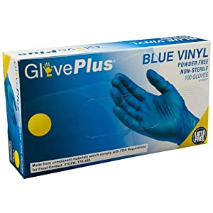 AMMEX GlovePlus Blue Vinyl Disposable Gloves