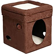 """MidWest """"The Original"""" Curious Cat Cube, Cat House / Cat Condo in Brown Faux Suede & Synthetic Sheepskin"""