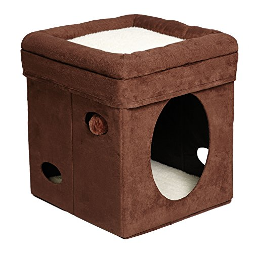 MidWest 'The Original' Curious Cat Cube, Cat House / Cat Condo in Brown Faux Suede & Synthetic Sheepskin