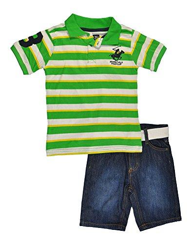 UPC 638302754170, Beverly Hills Polo Club Little Boys S/S Striped Polo 2pc Denim Short Set (3T, Green)