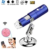 HD USB Digital MicroScope Camera 50X to 1000X Magnification Handheld Mini Endoscope with 8 LED Light Adjustable Metal Stand Educational or Hobby Microscopes Toy for Kids Student (WiFi Microscope)
