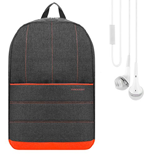 "Grove Unisex Luggage Backpack Travel Bag (Coral Orange) for Lenovo Edge / Flex / LaVie / Tab 2 Series 13"" to 15.6"" Laptop + Stereo Earphone with Mic"