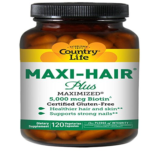 Country Life Maxi Hair Plus 5,000 mcg Biotin 120 VegiCaps (Pack of 3) by Country Life