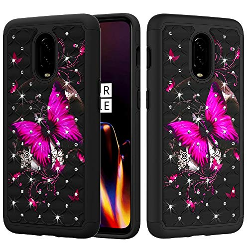 E Design Cover for OnePlus 6T McLaren (T-Mobile) Dual Layer Protection [Jewel Rhinestones] Cute Girls Women Slim Hard Shell Sparkly [Bling Diamond] (Hot Pink Butterfly Flower) ()