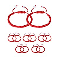 Gejoy 12 Pieces Handmade Kabbalah Red String Bracelet Adjustable Luck Bracelet with 2 Pieces White Bead for Success