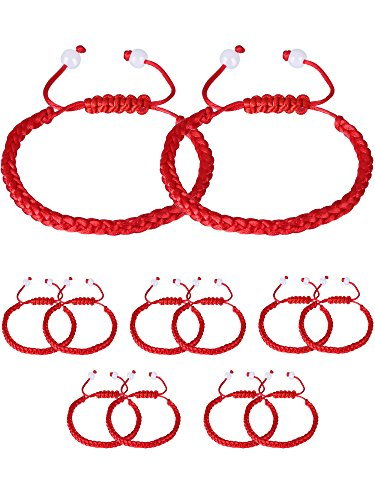 Gejoy 12 Pieces Handmade Kabbalah Red String Bracelet Adjustable Luck Bracelet with 2 Pieces White Bead for Success ()