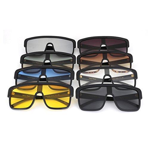 ROYAL GIRL Premium Oversized Sunglasses Women Flat Top Square Frame Shield Fashion Glasses (Matte Black, 77) by ROYAL GIRL (Image #7)