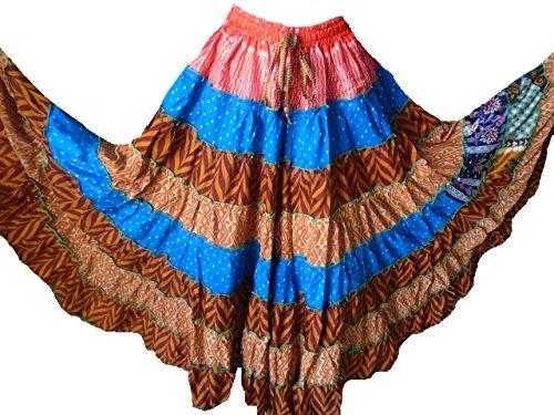 Colorido Hermosa 7 yardas tribales Gypsy falda con gradas Maxi Belly Dancing Silk Blend romano español faldas Se adapta a S M L XL 2XL 350