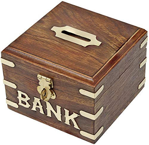 SKAVIJ Wooden Piggy Bank, Money Safe Fun Toy for Saving and Storing Coins Cash Box Gift for New Year