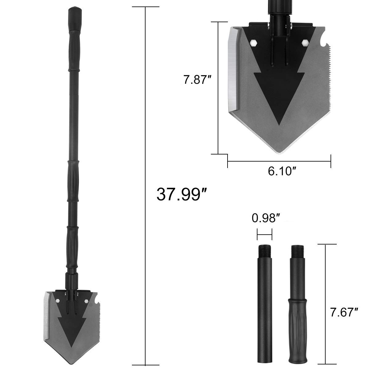 Portable Folding Shovel Pickax with Tactical Waist Pack All-in-1 Surplus Military Multitool Tactical Spade for Outdoor Camping Hiking Backpacking Entrenching Garden Tool Car Emergency 38 inch Length by Yeacool (Image #3)