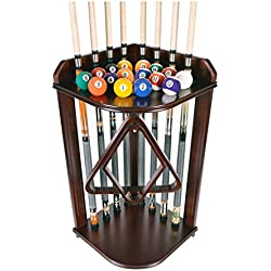 Pool Cue Rack Only- Billiard Stick Stand Holds 8 Cues & Ball Set Mahogany Finish I