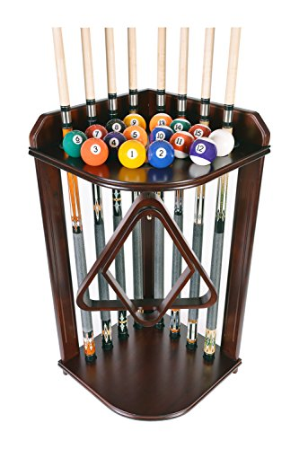 Pool Cue Rack Only- Billiard Stick Stand Holds 8 Cues & Ball Set Mahogany Finish (Mahogany)