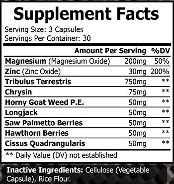 Super Testosterone Booster Builds Muscle, Strength, and Libid with Magnesium, Zinc, Tribulus Terrestris, Chrysin, Horny Goat weed, Longjack, Saw Palmetto Berries | 90 capsules by MEGATHOM USA