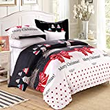 LAMEJOR Duvet Cover Sets Queen Size Christmas Series Christmas Tree and Bells Pattern Bedding Set Comforter Cover(1 Duvet Cover+2 Pillowcases)
