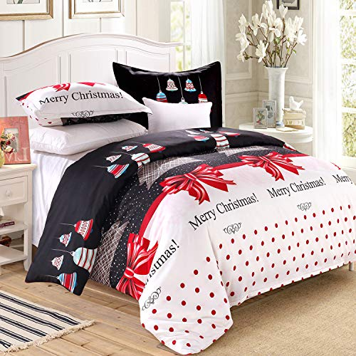 LAMEJOR Duvet Cover Set Queen Size Christmas Theme Merry Christmas/Christmas Tree/Bells Pattern Holiday Season Luxury Reversible Bedding Set Comforter Cover(1 Duvet Cover+2 Pillowcases) (Quilt Holiday Sets)