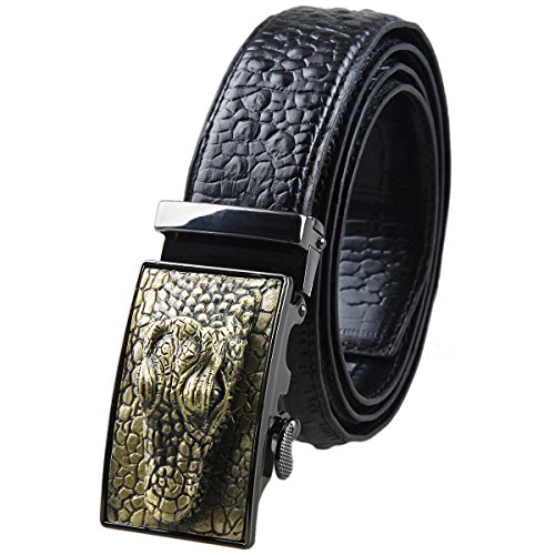 Moonsix Leather Belts for Men 35mm Alligator Crocodile Embossed Dress Belt with Ratchet Buckle,Black