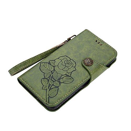 MEIRISHUN Leather Wallet Case Cover Carcasa Funda con Ranura de Tarjeta Cierre Magnético y función de soporte para LG X Power - Caqui Verde