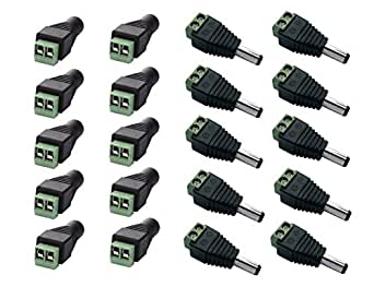 10//20x Male+Female Plug 12V DC Power Jack Connector Cable Adapter for CCTV w*e