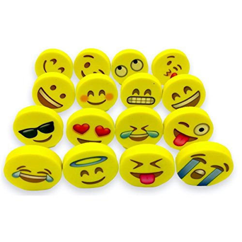 OHill Pack of 128 Pack Emoji Pencil Erasers 16 Emoticons Novelty Erasers for Party Favors School Classroom Prizes Rewards by OHill (Image #4)