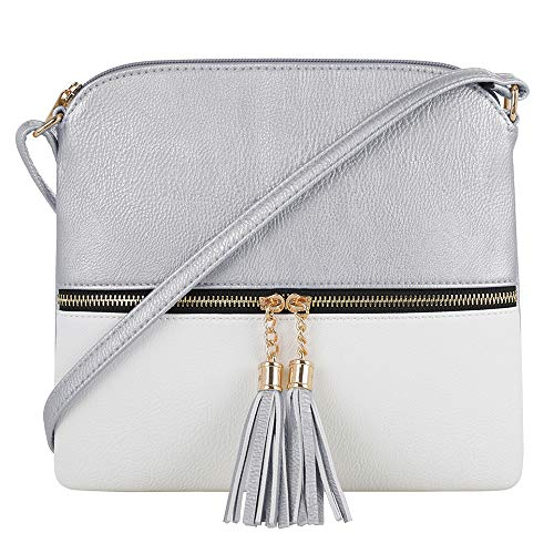 SG SUGU Lightweight Medium Crossbody Bag with Tassel and Zipper Pocket (Silver/White)
