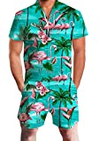 Goodstoworld Jumpsuit for Men 3D Hawaiian Flamingos Design Zip up Romper Hip Hop T Shirt Cargo Shorts Summer Onesies Overall XL