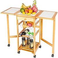 Onebuyten 4-Tier Folding Kitchen Trolley Rolling Cart (Brown)