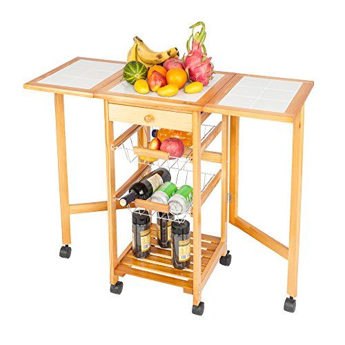 SSLine Wooden Drop Leaf Kitchen Island on Wheels Portable Folding Storage Trolley Cart with Drawer/Baskets Small Rolling Dining Table with Shelves