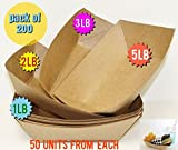 200 PACK Brown Kraft Paper Food Trays Great hot dog tray Food Tray Party Catering brown paper plates Paperboard food trays Disposable food trays (1 lb, 2 lb, 3 lb, 5 lb, 50 from each Brown Food Tray)