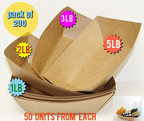 200 PACK Brown Kraft Paper Food Trays Great hot dog tray Food Tray Party Catering brown paper plates Paperboard food trays Disposable food trays (1 lb, 2 lb, 3 lb, 5 lb, 50 from each Brown Food - Tray Fair