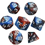 d and d dice - eBoot Polyhedral 7-Die Dice Set for Dungeons and Dragons with Black Pouch (Blue Brown)