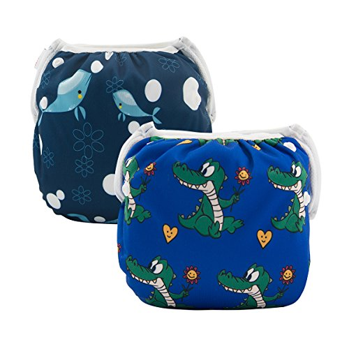 ALVABABY Swim Diapers 2pcs Reuseable Washable for Baby Swimming Lessons (Baby Girls) (Whale & Alligator, Large Size (0-3 Years Old)) by ALVABABY