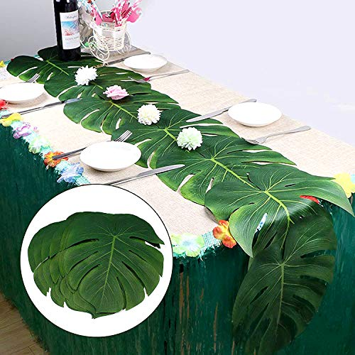 Laoban Large Tropical Palm Leaves | 24pcs Artificial Safari Leaves | DIY Palm Leaf Table Runner | Hawaiian Luau Party Supplies | Wedding Place Mats | Jungle Beach Birthday Themed Table Decorations